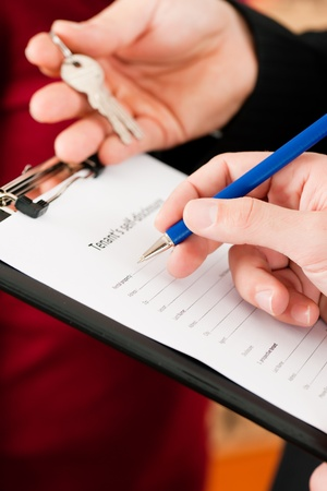 accommodation broker: Rent an apartment - Filling Tenant's self-disclosure; close-up on form