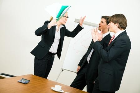 Business team having a quarrel photo
