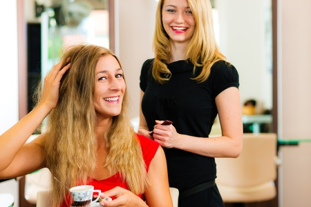 Woman at the hairdresser getting advise on her hair styling, the girls are drinking Cappuccino   Stock Photo - 10428058