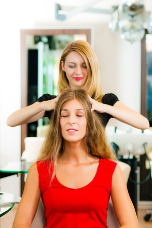 Woman at the hairdresser getting a head massage in the salon Stock Photo - 10428050