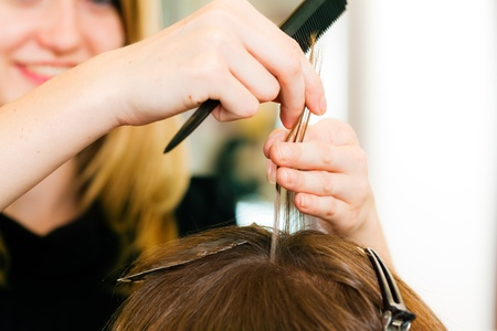 At the hairdresser  woman gets new hair colour, close-up on hands Stock Photo - 10428049