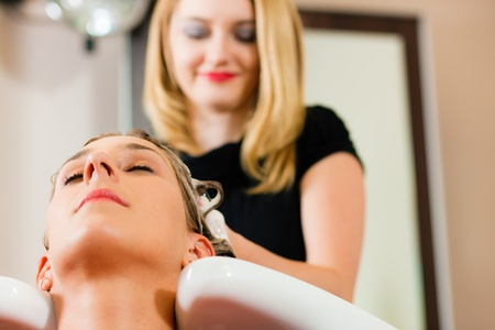 Woman at the hairdresser getting her hair washed and rinsed feeling visibly well Stock Photo - 10428038