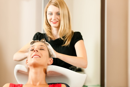 Woman at the hairdresser getting her hair washed and rinsed feeling visibly well   Stock Photo - 10428037