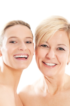 two generation family: Beauty - youth and age or mother and daughter
