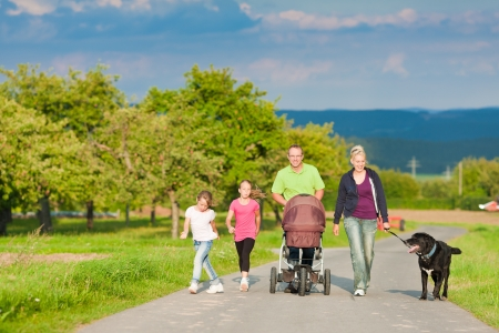 walking down: Family with three children (one baby lying in a baby buggy) walking down a path outdoors, there is also a dog