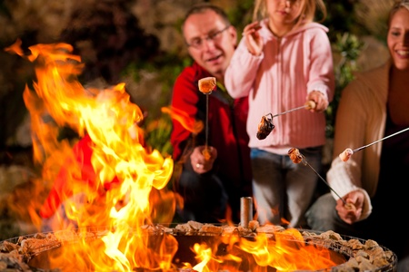 arrosto: Famiglia al barbecue in sera, grigliate marshmallows