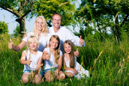 Happy family with daughter girls sitting in a meadow in summer photo