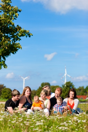 Family and multi-generation - mother, father, children and grandmother having fun on meadow in summer Stock Photo - 10718764