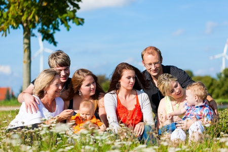 Family and multi-generation - mother, father, children and grandmother having fun on meadow in summer Stock Photo - 10718408