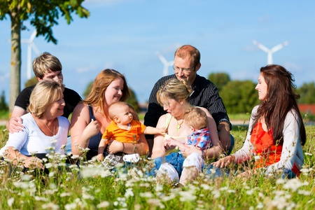 multiple family: Family and multi-generation - mother, father, children and grandmother having fun on meadow in summer