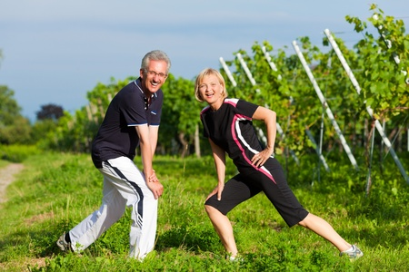 Mature or senior couple in jogging gear doing sport and physical exercise outdoors in a vineyard, stretching and gymnastics photo