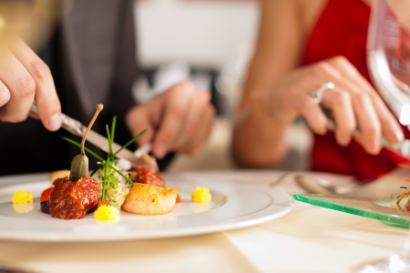 restaurant food: Couple for romantic Dinner or lunch in a gourmet restaurant