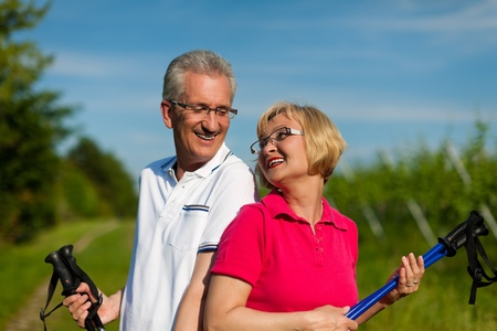 Nordic Walking - Happy mature or senior couple doing sports in summer outdoors Stock Photo - 11529587