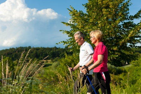 Nordic Walking - Happy mature or senior couple doing sports in summer outdoors Stock Photo - 11529737