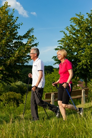 Nordic Walking - Happy mature or senior couple doing sports in summer outdoors Stock Photo - 11529789
