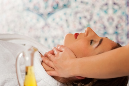 Wellness - woman getting massage or facial in Spa; it is a massage for the head Stock Photo - 11530168