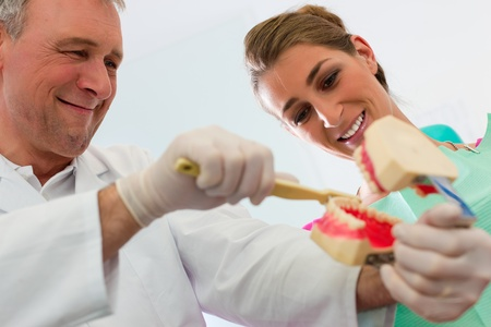 Dentist explaining teeth brushing to patient with an artificial set of teeth Stock Photo - 11912195