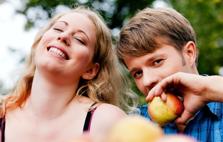 Couple (man and woman) eating freshly harvested apples - in front of them a basket with lots of fresh fruit Stock Photo - 11912315