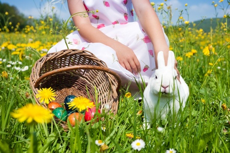 Little girl petting the Easter bunny on a meadow in spring