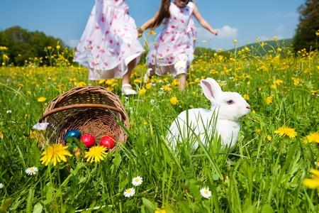 conejo pascua: Ni�os en una caza del huevo de Pascua en un prado en primavera, en el primer plano del conejito de Pascua est� a la espera