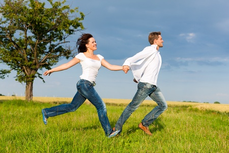 Happy couple running on a meadow in summer holding each others hands Stock Photo - 12388915