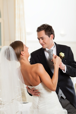 Bride and groom dancing the first dance at their wedding day Stock Photo - 12443503
