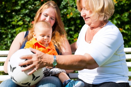 Family - Grandmother, mother and child sitting and playing with a football in garden photo