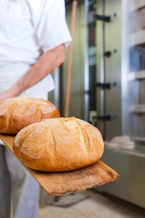 baker's: Male baker baking fresh bread in the bakehouse