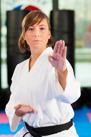 mujeres peleando: Mujer en el entrenamiento de artes marciales en un gimnasio, ella está usando un cinturón negro Foto de archivo
