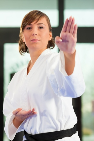 martial arts woman: Woman in martial art training in a gym, she is wearing a black belt