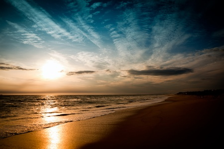 mood moody: Beach and sky in wonderful evening mood Stock Photo