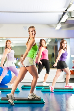 cardio fitness: Fitness - Young women doing sports training or workout with stepper in a gym