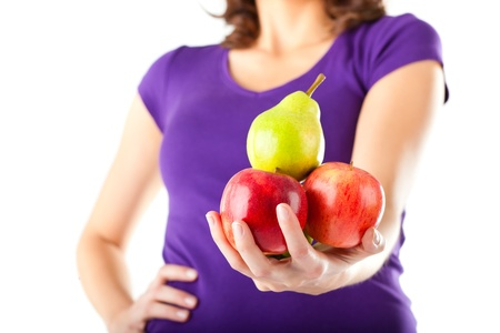 Healthy eating - woman with apples and pear photo