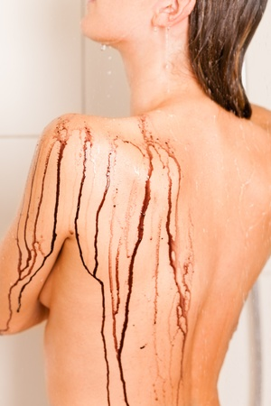 showering: Wellness - young woman detoxifying or purging in a Spa under the shower