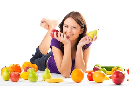 vital: Healthy eating, happy woman with fruits and vegetables is eating a apple  Stock Photo