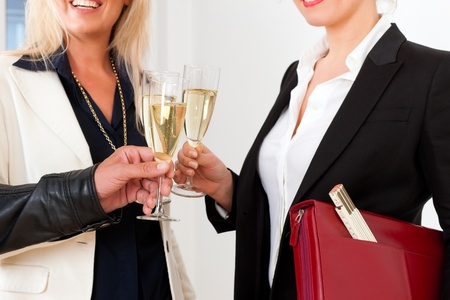 Real estate market - young couple looking for real estate to rent or buy, they celebrate with champagne and clinking glasses Stock Photo - 13452875