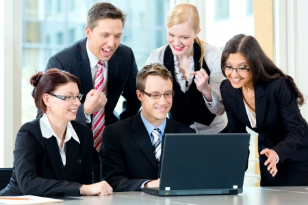 team meeting: Business - businesspeople have team meeting in an office with laptop, it is a very good team