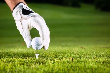 ball: Mano mantenga pelota de golf con la te en curso, primer plano Foto de archivo