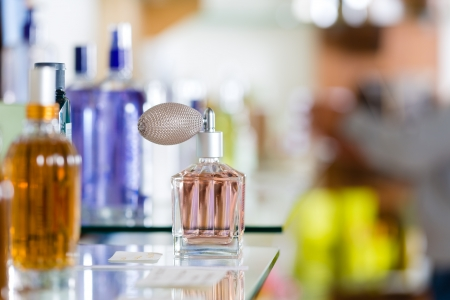 fragrance: Perfume in drugstore or shop for testing Stock Photo