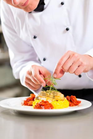Chef in hotel or restaurant kitchen cooking, he is finishing a dish on plate Stock Photo - 15678089