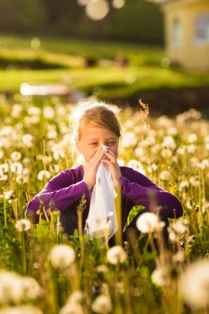 blowing dandelion: Girl sitting in a meadow with dandelions and has hay fever or allergy Stock Photo