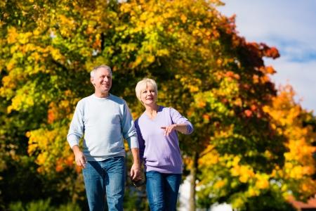 intymno: Mężczyzna i kobieta, para starszych, posiadające spacer w jesieni lub spadek plenerze, drzewa pokazują kolorowe liści