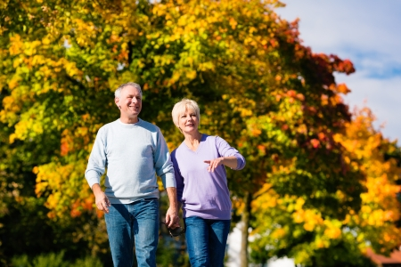 walk in: Man and woman, senior couple, having a walk in autumn or fall outdoors, the trees show colorful foliage