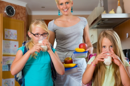 Family - mother making breakfast for her children in the morning and a snack for school Stock Photo - 16883875