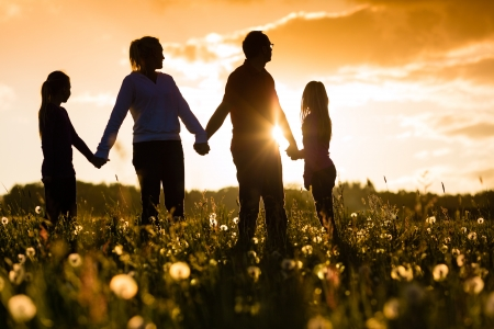 Happy family with daughters standing in the summer meadow at sunset  photo