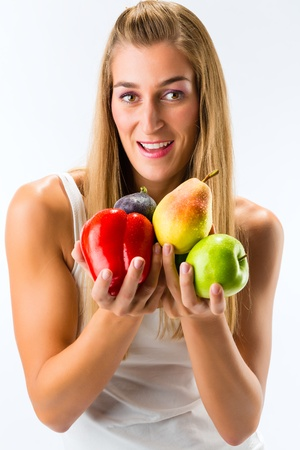Healthy eating, happy woman with fruits and vegetables Stock Photo - 17058434