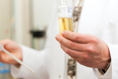 brewer: Brewer en el laboratorio de la f�brica de cerveza y est� haciendo un an�lisis