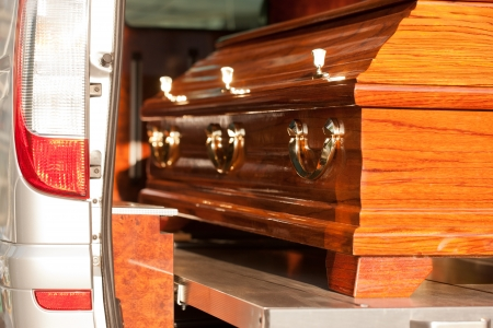 hearse: Dolor - Funeral with coffin on a cemetery in hearse