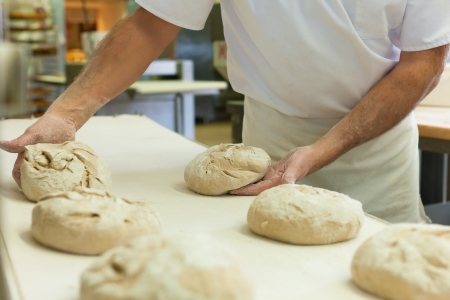 bakery products: Male baker baking fresh bread in the bakehouse