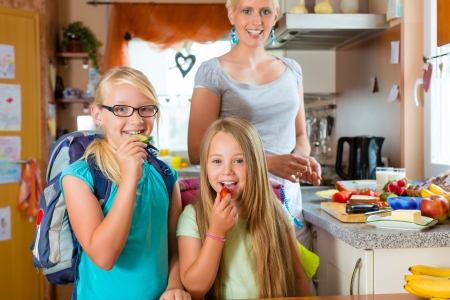 Family - mother making breakfast for her children in the morning and a snack for school Stock Photo - 17620236